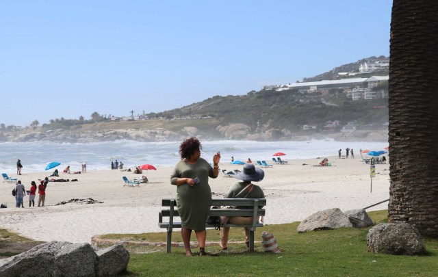SAfr Cape Town Camps Bay Beach Two large ladies